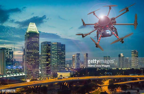 Drone flying and filming over Singapore