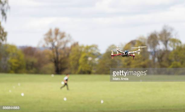 Drone flying in park