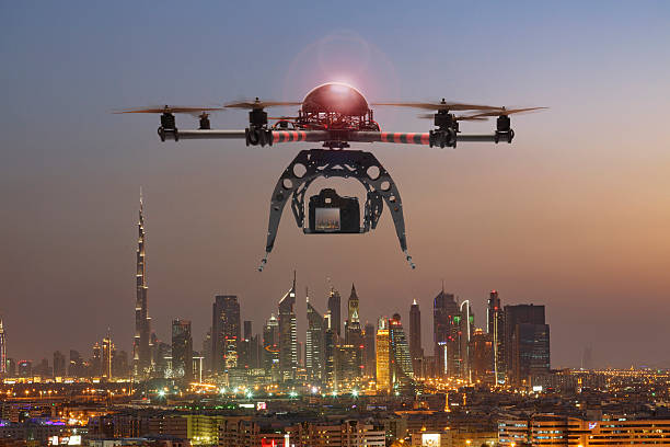 drone flying over a futuristic city picture