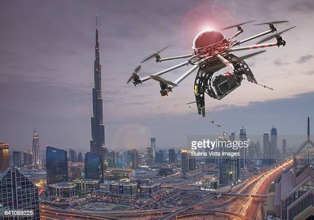 Drone flying over a futuristic city