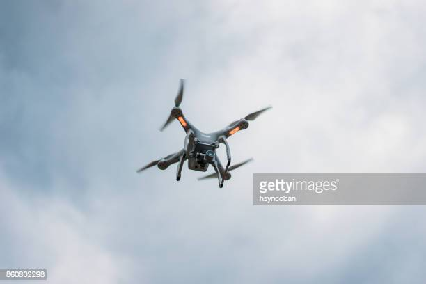 Drone Flying Over in Sky