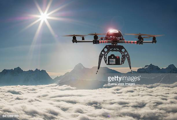 Drone flying over mountains