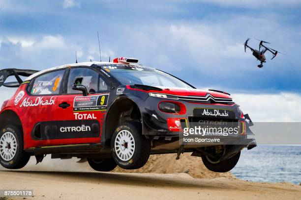 A drone follows Kris Meeke and codriver Paul Nagle of Citroën World Rally Team during Super Special Stage the Rally Australia round of the 2017 FIA...