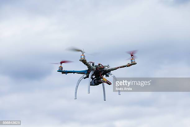 Drone hovering in mid air