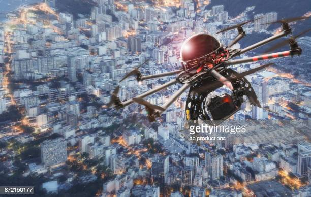Drone hovering over city, Rio De Janeiro, Brazil,