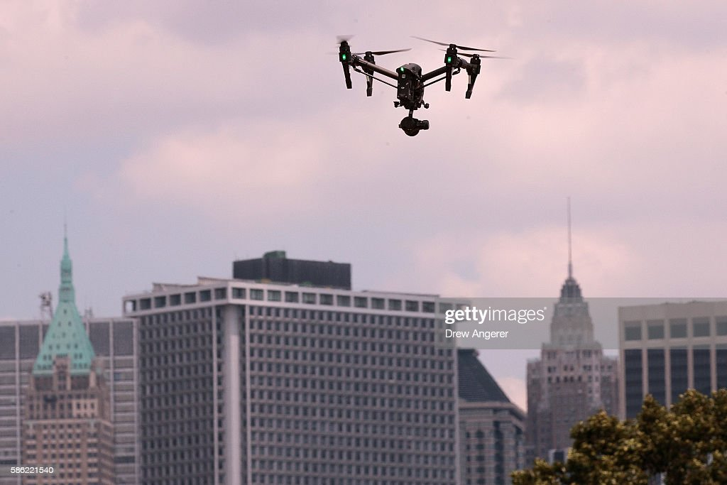 A drone hovers in the sky during practice day at the National Drone Racing Championships on Governors Island, August 5, 2016 in New York City. More than 100 pilots are vying for fifty thousand dollars in prize money.