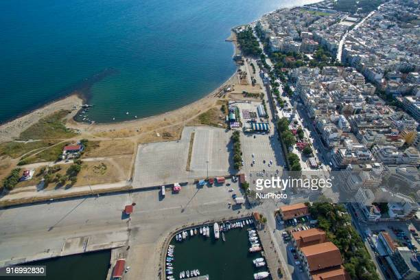 Drone images of Alexandroupoli or Alexandroupolis the capital city of the Evros Region in East Macedonia and Thrace in Greece It is located near the...