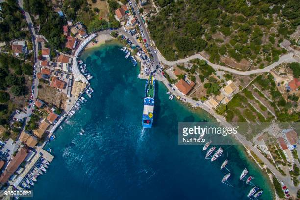Drone images of Fiskardo village in Cephalonia or Kefalonia island in Greece It is a little village with an estimated number of population just 190...