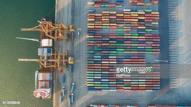 Drone images of The Port of Thessaloniki one of the Largest Greek seaports with annual traffic capacity of 16 million tonnes It is a major gateway...