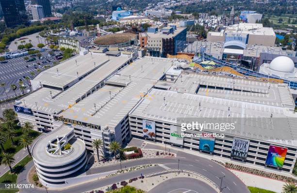 Drone images of Universal Studios Hollywood and empty parking lots on Tuesday, April 28, 2020 in Universal City, CA.