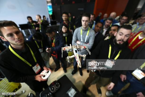 A drone is displayed during the 2017 Consumer Electronics Show in Las Vegas Nevada USA on January 08 2017