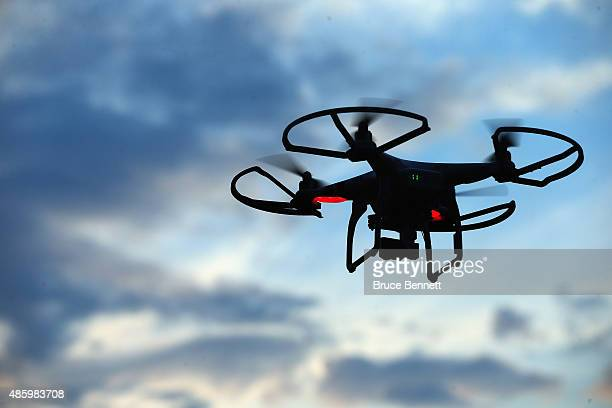 Drone is flown for recreational purposes in the sky above Old Bethpage, New York on August 30, 2015.