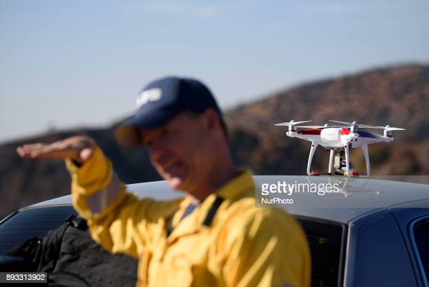 A drone is seen during a media demonstration by the Los Angeles Fire Department in Los Angeles California on December 14 2017 The LAFD deployed DJIs...