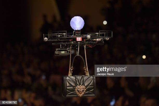 A drone is seen on the runway at the Dolce Gabbana show during Milan Fashion Week Fall/Winter 2018/19 on February 25 2018 in Milan Italy