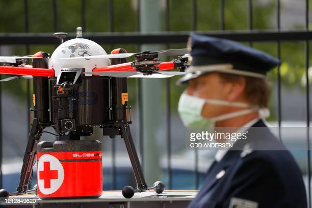 A drone made for medical supply deliveries is seen during a presentation of the German government's drone action plan on May 13 2020 close to the...
