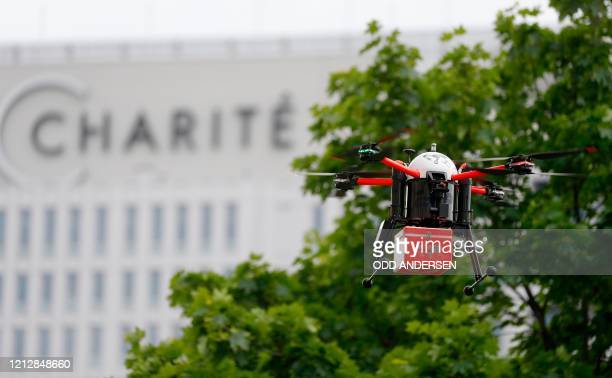 A drone made for medical supply deliveries is seen in the air during a presentation of the German government's drone action plan on May 13 2020 close...