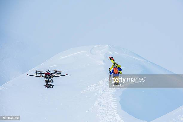 Drone on snowy landscape