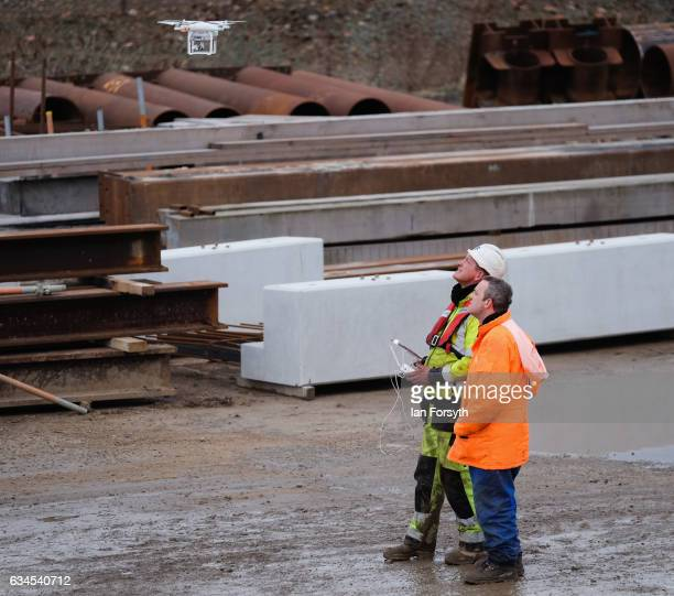 A drone operator prepares to fly as the final 100 metre centrepiece of Sunderland's new River Wear crossing is lifted into place on February 10 2017...