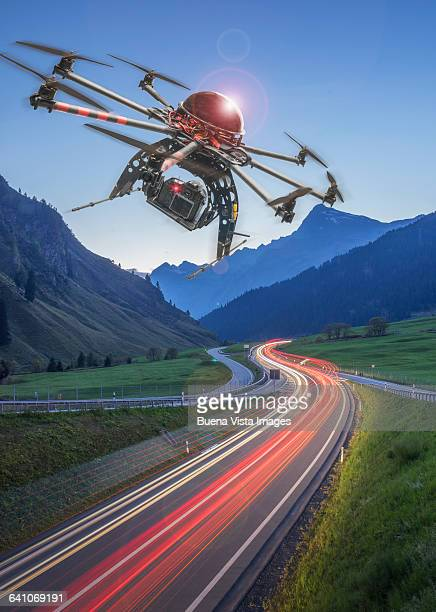 Drone over a road at dusk