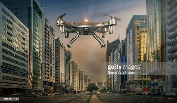 Drone over an empty street