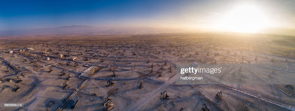 Drone Panorama of Oil Field : Stock Photo