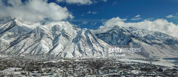 drone perspective of neighborhood - utah stock pictures, royalty-free photos & images