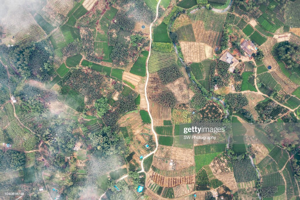 Drone photo of a Chinese agriculture village : Stock Photo