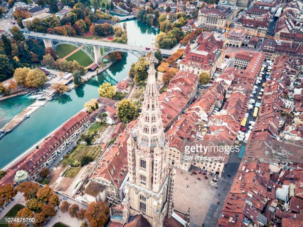 drone photo of bern minister and the bern cityscape - cathedral stock pictures, royalty-free photos & images