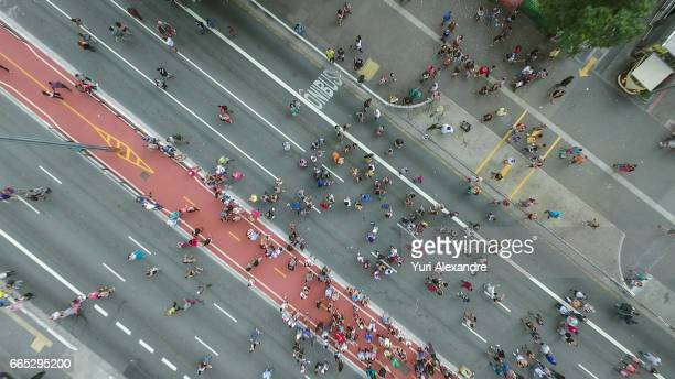 Drone photo of crowd in Paulista Avenue, Sao Paulo