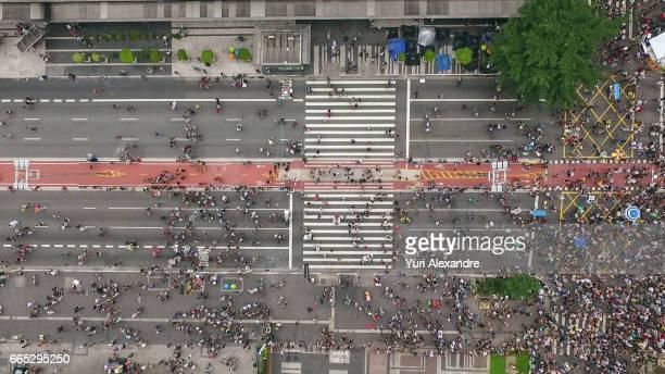 Drone photo of crowd in Paulista Avenue, Sao Paulo