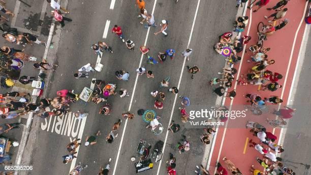 Drone photo of crownd in Paulista Avenue, Sao Paulo