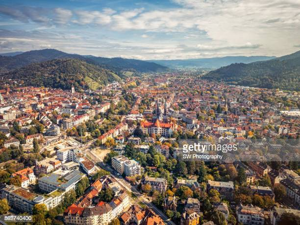 drone photo of freiburg city, germany - baden württemberg stock photos and pictures