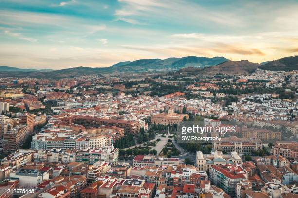 drone photo of granada cityscape and granada cathedral - granada spain landmark stock pictures, royalty-free photos & images