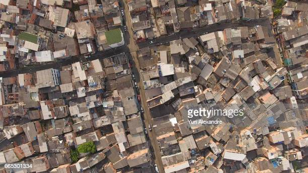 drone photo of paraisopolis slum, sao paulo, brazil - favela imagens e fotografias de stock