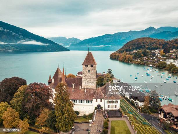 drone photo of spiez castle - bern canton stock pictures, royalty-free photos & images