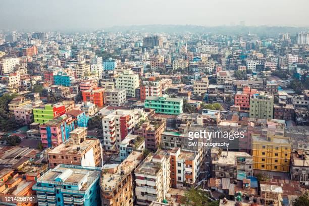 drone photo of the cityscape of chittagong, bangladesh - bangladesh stock pictures, royalty-free photos & images