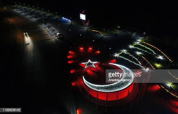 Drone photo shows a memorial shaped star and crescent at Altieylul district of Balikesir, Turkey on July 14, 2019. Names of 15 July Martrys are...