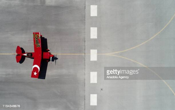 A drone photo shows a plane during the 4th Sivrihisar Airshow 2019 at Sivrihisar Necati Artan Aeronautical Facilities in Sivrihisar district of...