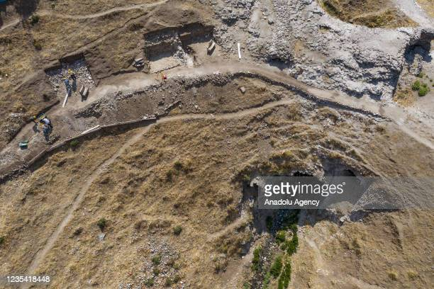 Drone photo shows a view of excavation works in Pergamon Ancient City in Bergama district of Izmir, Turkey on September 22, 2021. In the...