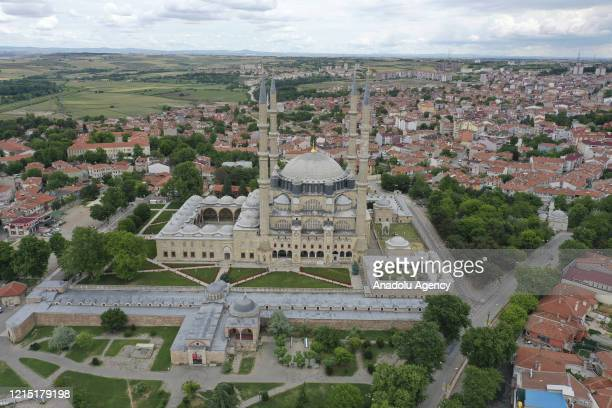 Drone photo shows a view of Selimiye Mosque in Edirne, Turkey on May 26, 2020. Due to the novel coronavirus pandemic, many public places including...