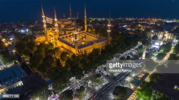 A drone photo shows a view of Sultanahmet Mosque during an iftar program organised by Fatih Municipality at Sultanahmet Square on the first day of...