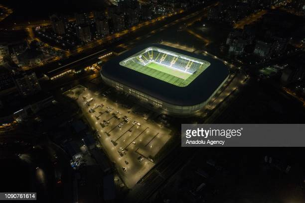 A drone photo shows a view of the newly established site of the Eryaman Stadium with 62 thousand and 255 meters squared area in Eryaman district of...
