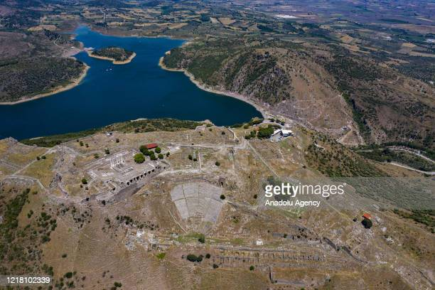 Drone photo shows acropolis of Pergamum in Bergama, which is prepared to be opened for the visitors within the normalization phase of novel...