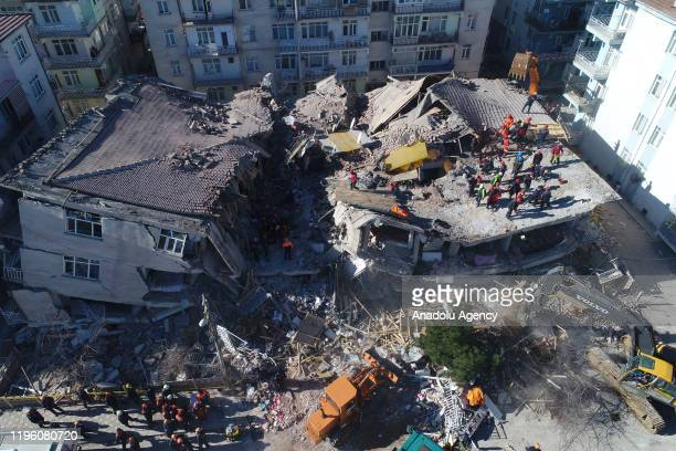 Drone photo shows aerial view of rescuers searching quake rubble in Sursuru neighborhood for survivors after a 68magnitude earthquake jolted eastern...