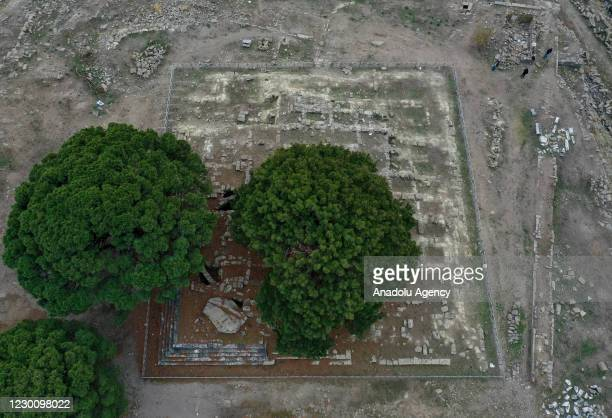 Drone photo shows Akropolis Bergama as efforts are underway to exhibit the Pergamon Altar, which was built 2,200 years ago by the Attalos Dynasty,...