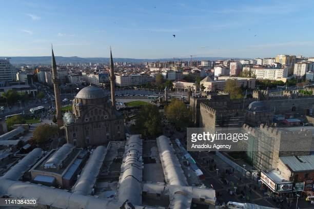 A drone photo shows an aerial view of Burunguz Mosque ahead of Muslims' holy fasting month of Ramadan in Kayseri Turkey on Kayseri 05 2019 The...