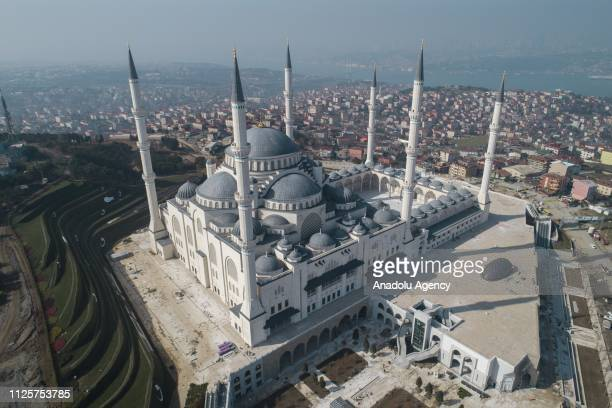 A drone photo shows an aerial view of Camlica Mosque in Istanbul Turkey on February 18 2019 Turkey's biggest mosque the construction of Camlica...