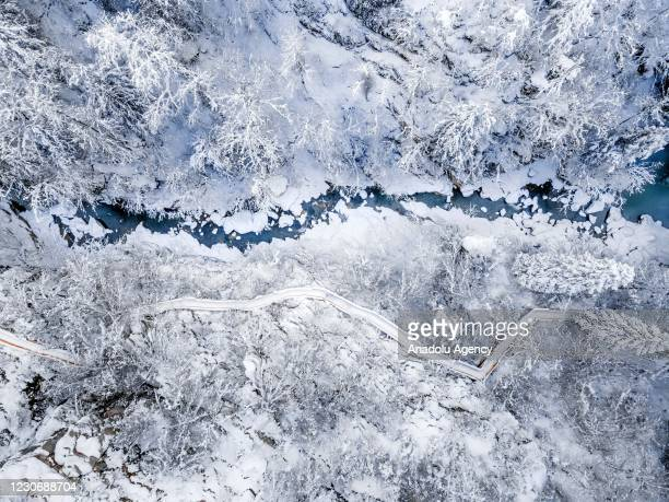 Drone photo shows an aerial view of Horma Canyon after a snowfall in Pinarbasi district of Kastamonu, Turkey on January 19, 2021.