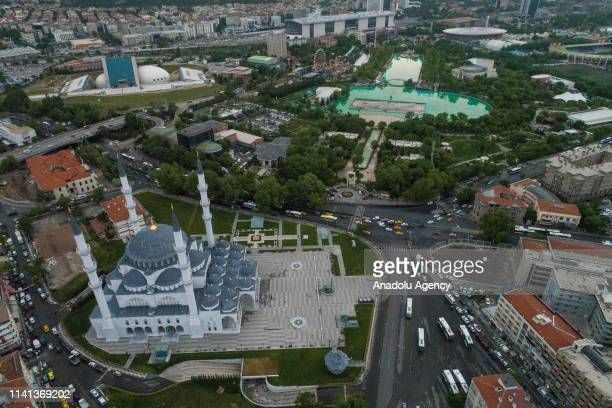 A drone photo shows an aerial view of Melike Hatun Mosque ahead of Muslims' holy fasting month of Ramadan in Ankara Turkey on May 02 2019 The mosques...