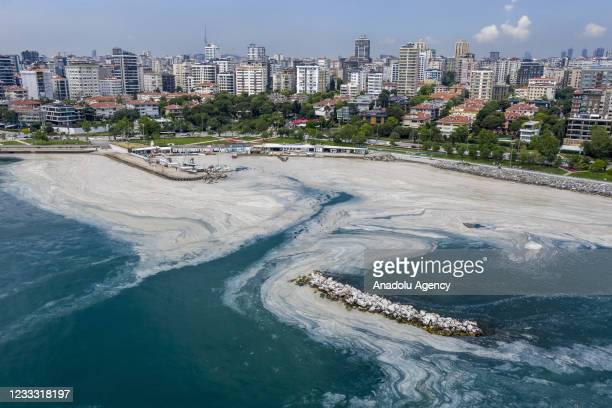 Drone photo shows an aerial view of mucilage, also known as sea snot, covering the surface of sea shores including Kadikoy, Kurbagalidere,...